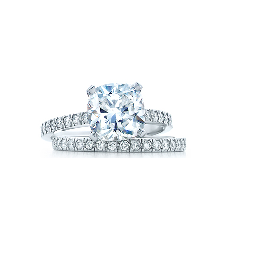 Cz Wedding Set Style 1356 Feat The Tien Engagement Ring 2 Ct Cushion Cut Tiffany Novo Replica