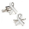"Men's Cufflinks- White Enamel ""Fight Against Hunger"" Awareness Ribbon (100% Proceeds Donated)"