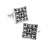 Men's Cufflinks- Square Filigree with Onyx Design