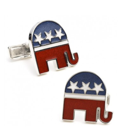 Men's Cufflinks- Sterling Silver Republican Elephants (Red/White/Blue Enamel)