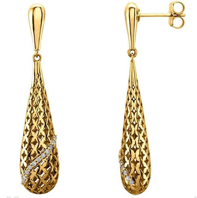 Cubic Zirconia Earrings- 0.11 Carat Striped Teardrop-Shaped Dangle Earring Set