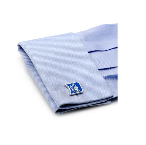 Men's Cufflinks- Palladium Edition Duke University Blue Devils with Enamel Accents (Officially Licensed)