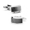 Men's Cufflinks- Silver Plated Curved Bridge Style with Grey Catseye