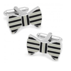 Men's Cufflinks- Black and Grey Enameled Horizontal Striped Bowties