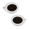 Men's Cufflinks- Black and White Oval Outlines