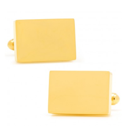 Men's Cufflinks- Block Stainless Steel Rectangles with Yellow Gold Plating