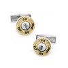 Men's Cufflinks- Sterling Silver with Yellow Gold Two-Tone Bullets