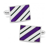 Men's Cufflinks- Purple and Green Rectangle Repp Stripe