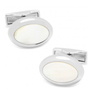 Men's Cufflinks- Palladium Plated and White Mother of Pearl Ovals