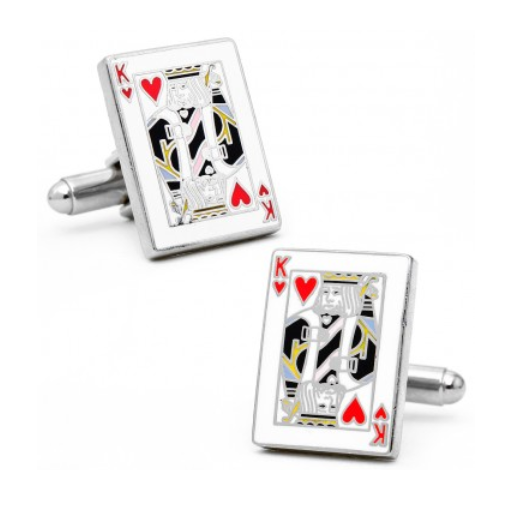 Men's Cufflinks- King of Hearts Enameled Cardshark Design