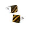 Men's Cufflinks- Silver Plated with Floating Tigers Eye & Onyx