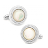 Men's Cufflinks- Mother of Pearl with Etched Circular Border
