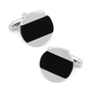 Men's Cufflinks- Silver Plated Discs with Inlaid Onyx