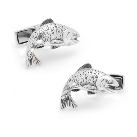 Men's Cufflinks- Sterling Silver Salmon Fisherman