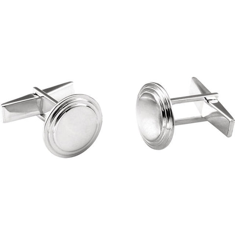 Men's Cufflinks- Sterling Silver Posh Mommy® Engravable Round (Licensed)
