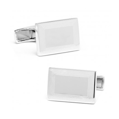 Men's Cufflinks- Sterling Silver Engravable Etched Rectangles