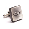 Men's Cufflinks- Pewter Finished Icthus Fish Christian Symbols
