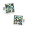 Men's Cufflinks- Sterling Silver Mosaic Style with Abalone