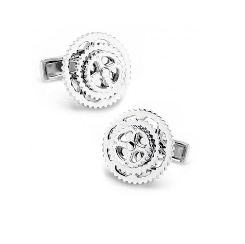 Men's Cufflinks- Sterling Silver Cyclists Design