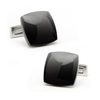 Men's Cufflinks- Classic Stainless Steel with Black PVD Curved Squares