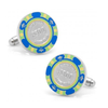 Men's Cufflinks- $500 Blue Poker Chip (Silver Plated)