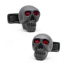 Men's Cufflinks- Matte Black Skulls (set with ruby red crystals for eyes)