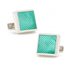 Men's Cufflinks- Sterling Silver with Green Laser-Etched Mother of Pearl