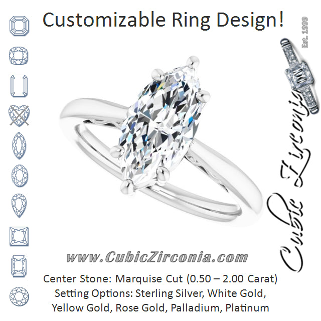 Cubic Zirconia Engagement Ring- The Abbey Ro (Customizable Marquise Cut Solitaire with 'Incomplete' Decorations)