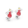 Men's Cufflinks- Palladium Edition Miami Heat with Enamel Accents (Officially Licensed)
