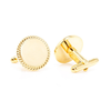 Men's Cufflinks- 14K Yellow Gold Plated Stainless Steel with Rope Border Design