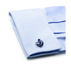 Men's Cufflinks- Sterling Silver with Blue Enamel Knots