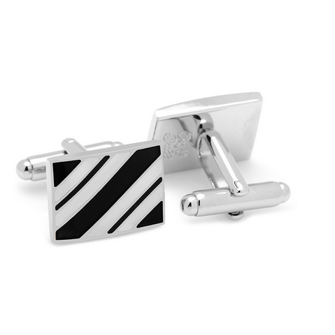 Men's Cufflinks- Black and White Rectangle Repp Stripe