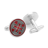 Men's Cufflinks- Red Enameled Firenze Petal