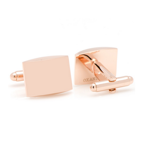 Men's Cufflinks- Curved Stainless Steel Rectangles with Rose Gold Plating