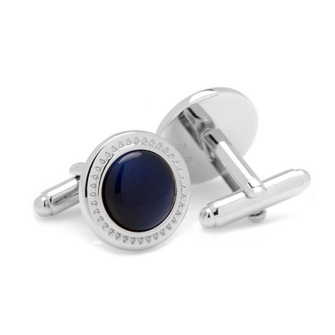 Men's Cufflinks- Navy Blue Catseye with Etched Circular Border