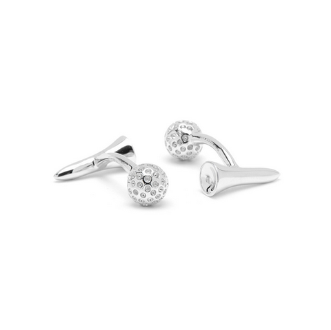 Men's Cufflinks- Sterling Silver Double Sided Golf Tees