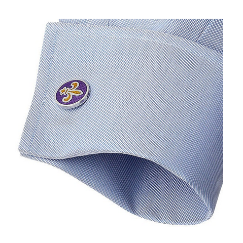 Men's Cufflinks- Purple Ovals with Yellow Fleur-de-Lis