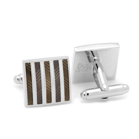 Men's Cufflinks- Black and White Enamel Striped Squares