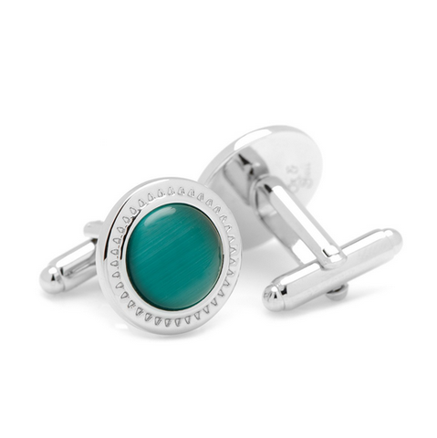 Men's Cufflinks- Emerald Green Catseye with Etched Circular Border
