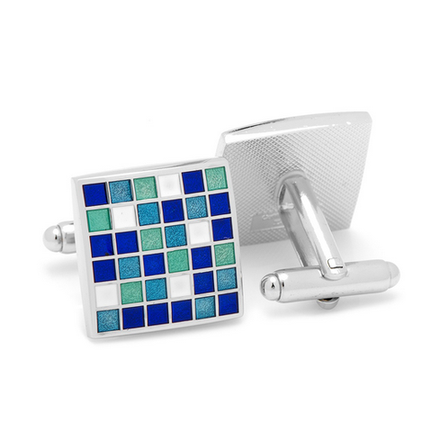 Men's Cufflinks- Blue Mosaic Checker Board Design