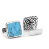 Men's Cufflinks- Sterling Silver Classic Scaled Turquoise