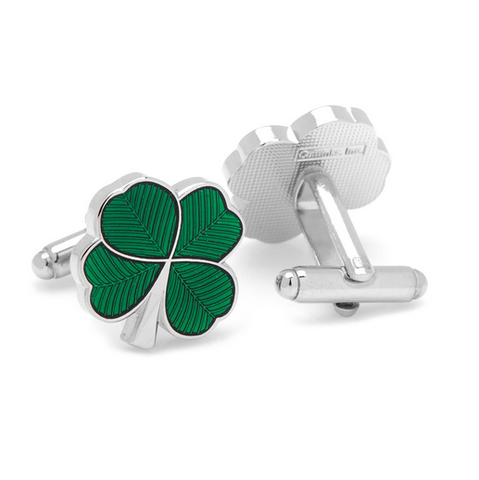 Men's Cufflinks- Lucky Green Enamel Clovers