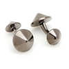 Men's Cufflinks- Gunmetal Plated Sterling Silver Double Spikes