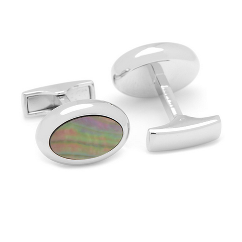 Men's Cufflinks- Palladium Plated and Black Mother of Pearl Ovals