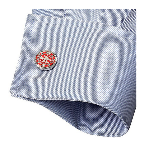 Men's Cufflinks- Bright Red Fireman's Shields