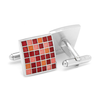 Men's Cufflinks- Red Mosaic Checker Board Design
