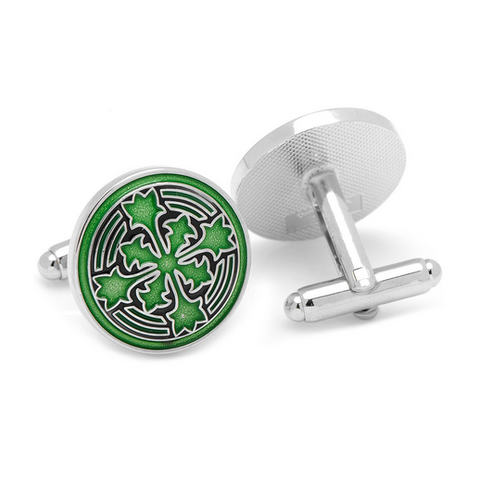 Men's Cufflinks- Green Enameled Firenze Petal
