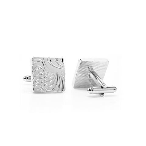Men's Cufflinks- Silver Plated Hypnotic Design