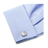 Men's Cufflinks- Silver Plated Organic Teardrop (Mother of Pearl)