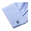 Men's Cufflinks- Silver Plated Blue Enamel Knots